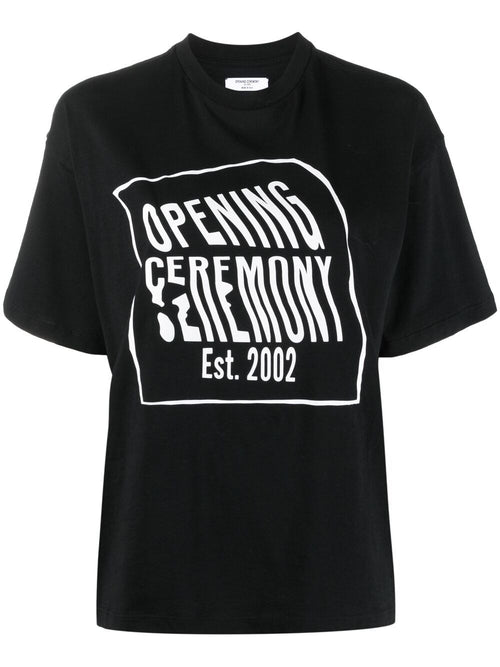 OPENING CEREMONY WARPED LOGO REGULAR T-SHIRT, BLACK