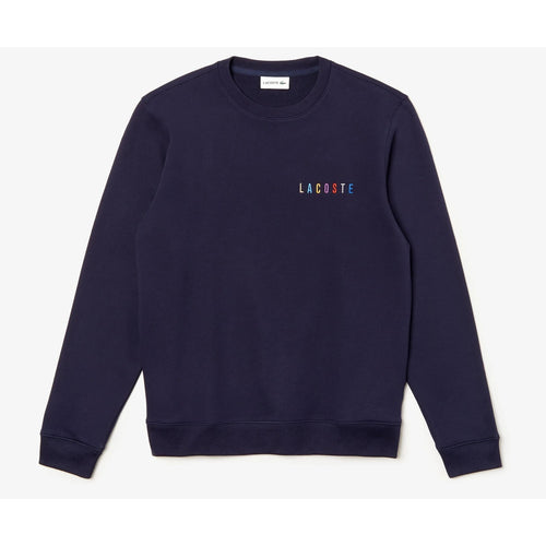 LACOSTE Multicolor Logo Fleece Sweatshirt, Navy