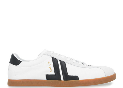 LANVIN Low Top Nylon Sneaker, White/ Black