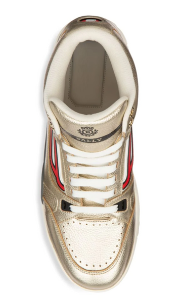 BALLY Champion King Metallic Leather High Top Sneakers, Antic Gold