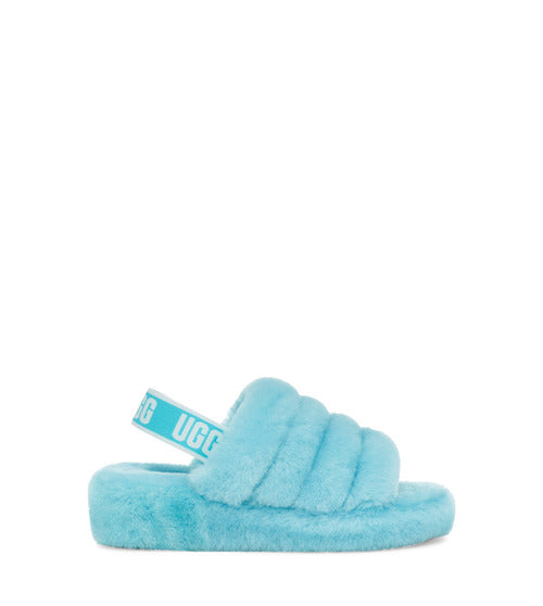 UGG WOMENS FLUFF YEAH SLIDE, CLEARWATER