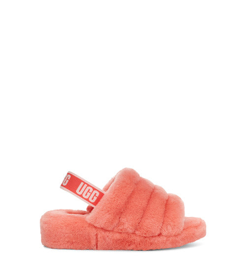 UGG WOMENS FLUFF YEAH SLIDE, VIBRANT CORAL