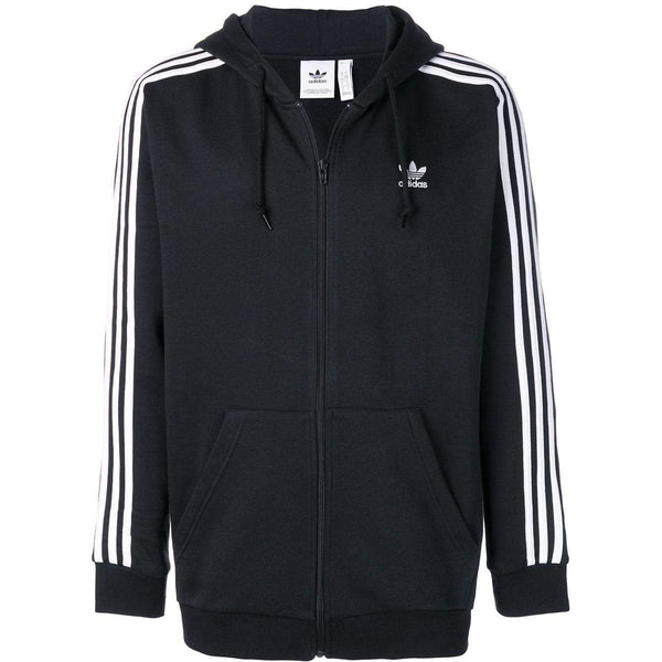 ADIDAS 3-Stripes Zipped Hoodie, Black-OZNICO