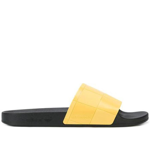 ADIDAS X RAF SIMONS Adilette Checkerboard Slides, Black/ Yellow-OZNICO