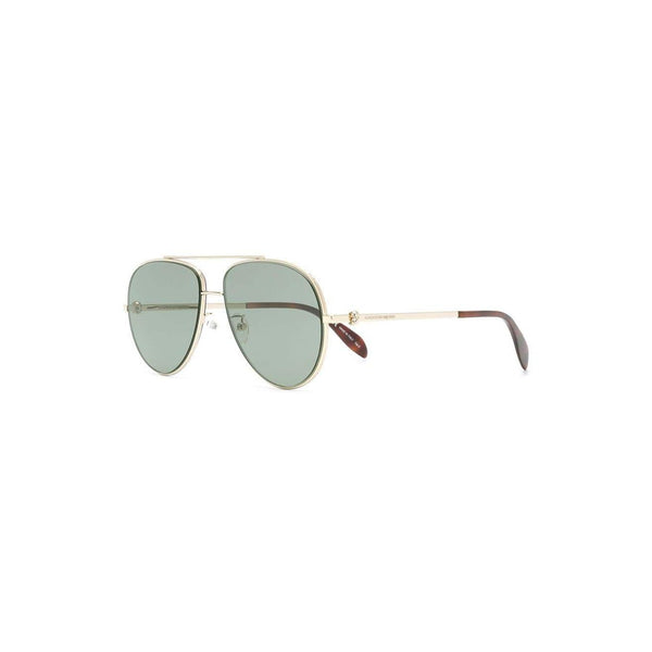 ALEXANDER MCQUEEN Aviator Shaped Sunglasses, Gold/ Green-OZNICO