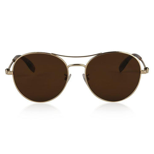 ALEXANDER MCQUEEN Metal Aviator Sunglasses, Gold/ Brown-OZNICO