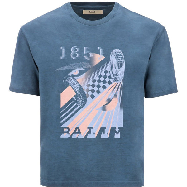BALLY Auto Racing Print T-Shirt, Blue-OZNICO