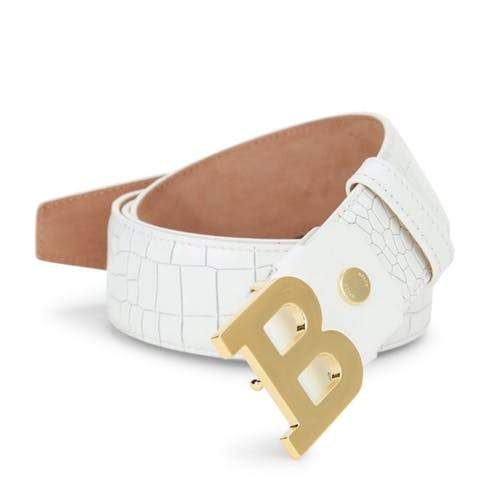 BALLY Croc-Embossed Leather Logo Belt, White-OZNICO