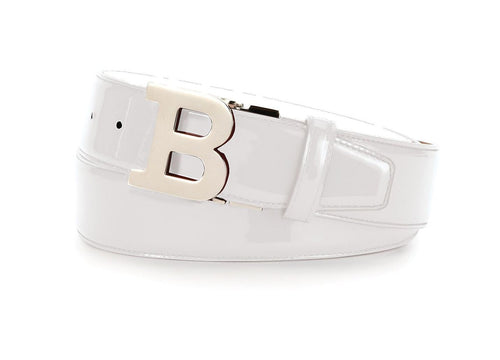 BALLY Croc-Embossed Reversible Leather Logo Belt, White-OZNICO