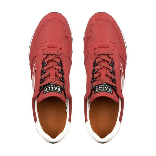 BALLY Galaxy Rubberized Leather Trainer, Bally Red-OZNICO