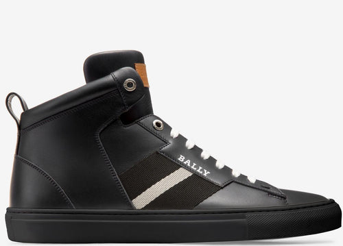 BALLY Hedern Calf Leather High Top Sneaker, Black-OZNICO