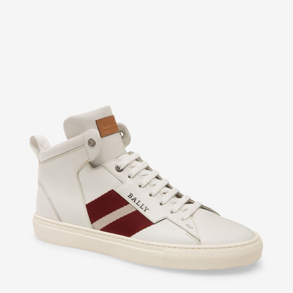 BALLY Hedern Calf Leather High Top Trainer, White-OZNICO