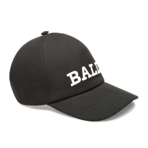 BALLY Logo Baseball Cap, Black-OZNICO
