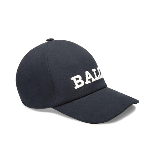 BALLY Logo Baseball Cap, Navy-OZNICO