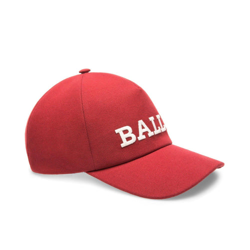 BALLY Logo Baseball Cap, Red-OZNICO