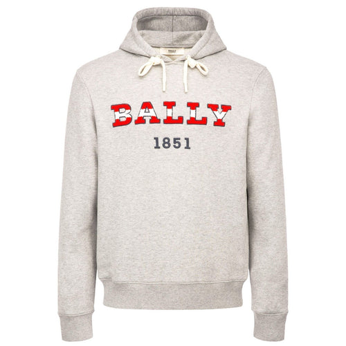 BALLY Logo Hooded Sweatshirt, Grey Melange-OZNICO