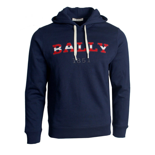 BALLY Logo Hooded Sweatshirt, Navy-OZNICO