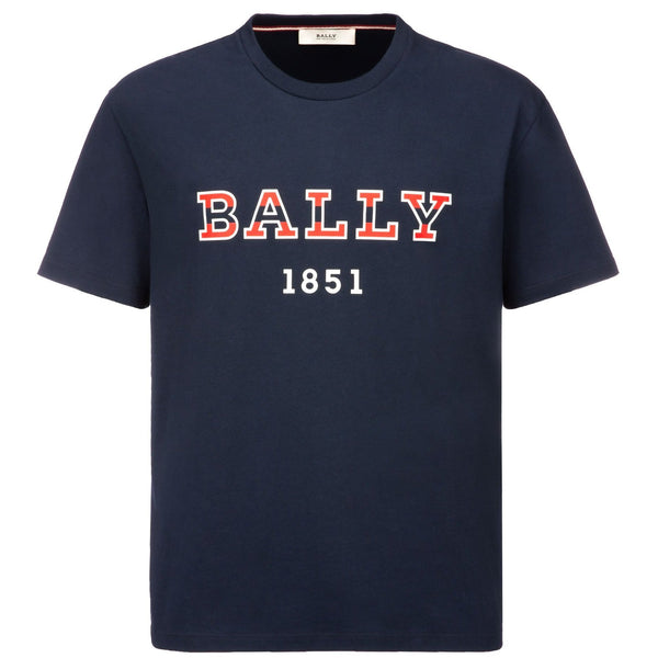 BALLY Logo T-Shirt, Navy-OZNICO