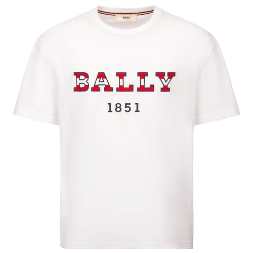 BALLY Logo T-Shirt, White-OZNICO