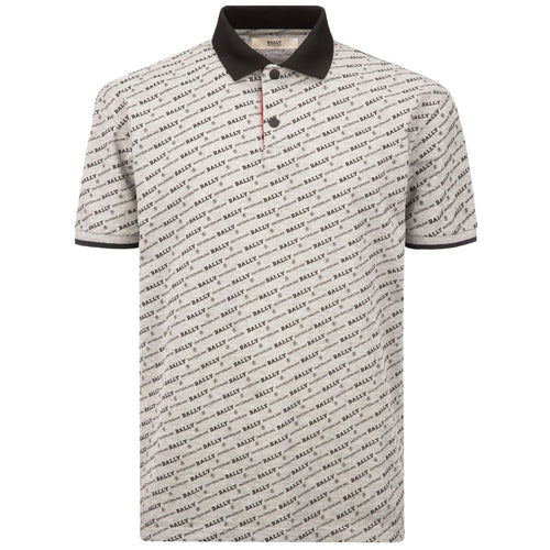 BALLY Monogram Cotton Piquet Polo Shirt, Grey-OZNICO