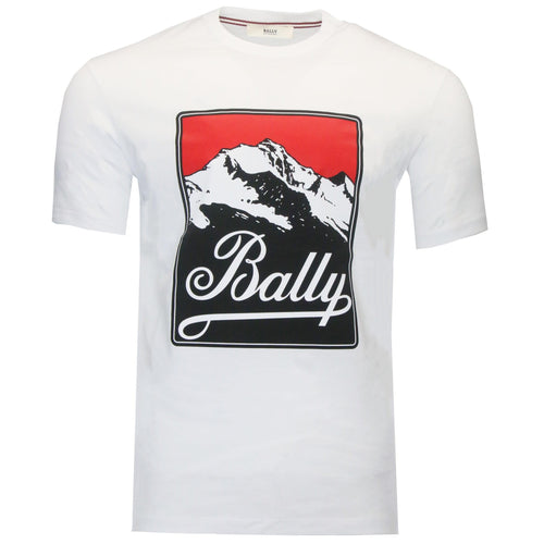 BALLY Mountain Logo Print T-Shirt, White-OZNICO