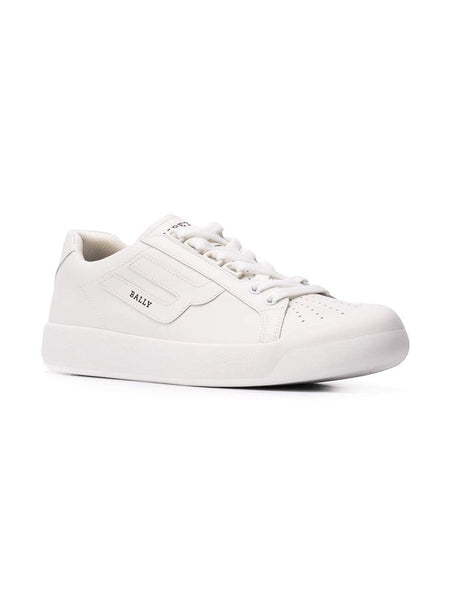 BALLY New Competition Contrast Logo Sneakers, White-OZNICO