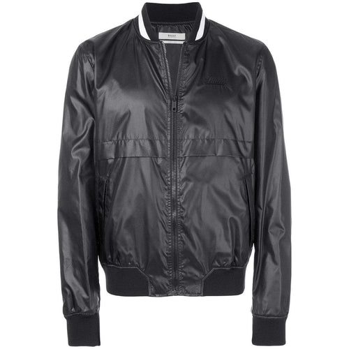 BALLY Nylon Varsity Bomber Jacket, Black-OZNICO