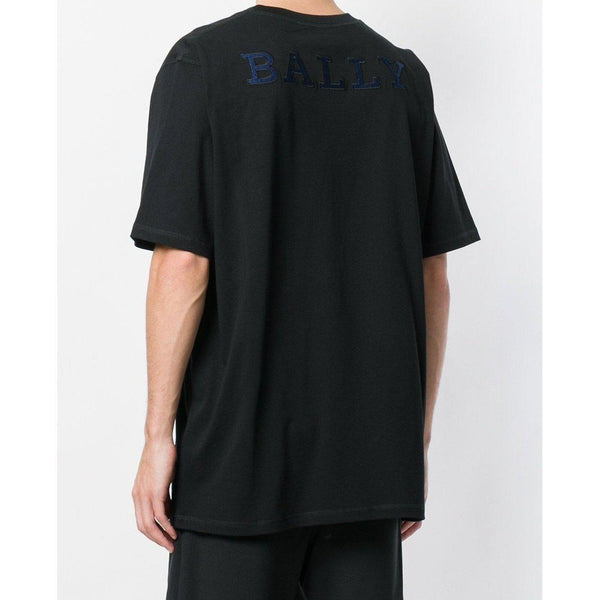 BALLY Oversized Logo-Back T-Shirt, Black-OZNICO