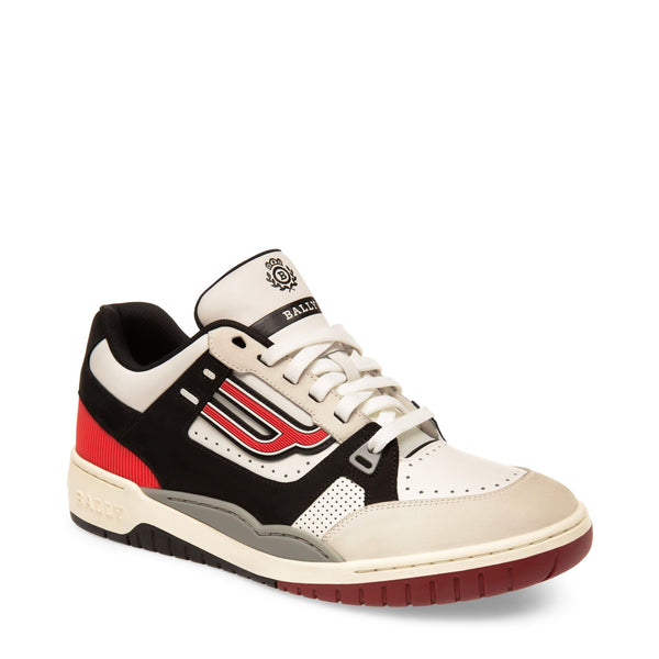 BALLY Plain Calf Leather Trainer, White/ Black-OZNICO