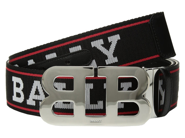 BALLY Reversible Mirror Belt, Black/ Bally Red-OZNICO