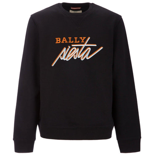 BALLY Siesta Embroidered Sweatshirt, Black-OZNICO