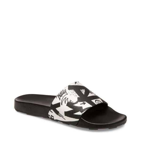 BALLY Slanter Slides, Black/ White-OZNICO