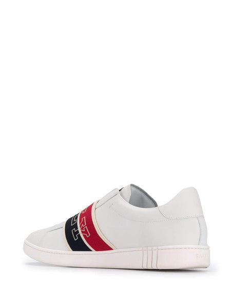BALLY Wictor Slip On Logo Band Sneaker, White/ Navy/ Red-OZNICO