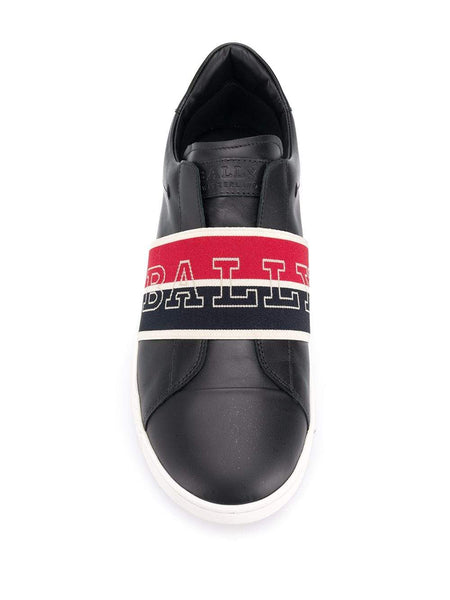 BALLY Wictor Slip On Logo Band Sneakers, Black/ Navy/ Red-OZNICO