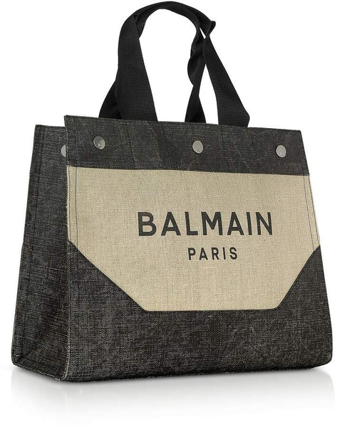 BALMAIN Canvas B-Soft Logo Tote Bag, Beige