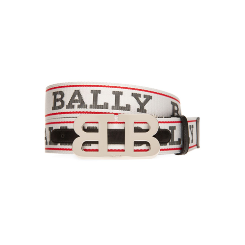 BALLY Logo Print Belt, White