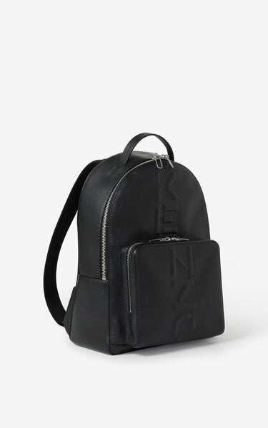 KENZO GRAINED LEATHER BACKPACK, Black