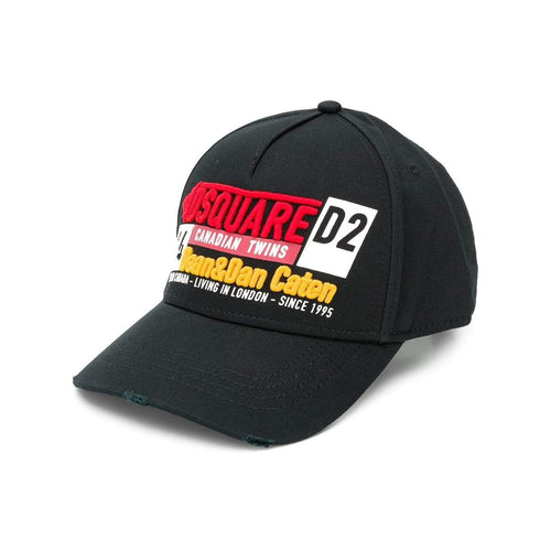 DQUARED2 Logo Embroidered Baseball Cap, Black-OZNICO