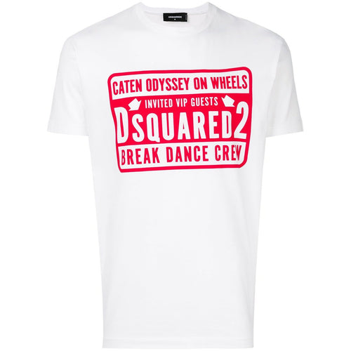 DSQUARED2 Break Dance Crew Print T-Shirt, White-OZNICO