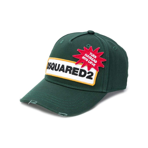 DSQUARED2 Color-Block Logo Baseball Cap, Green-OZNICO