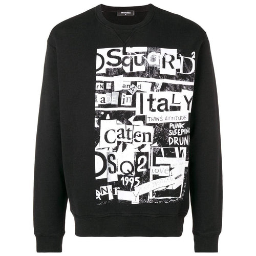 DSQUARED2 Graphic Crewneck Sweatshirt, Black-OZNICO