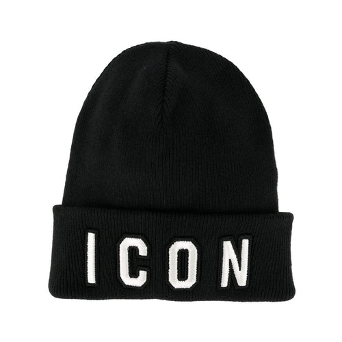 DSQUARED2 Icon Patch Beanie, Black-OZNICO