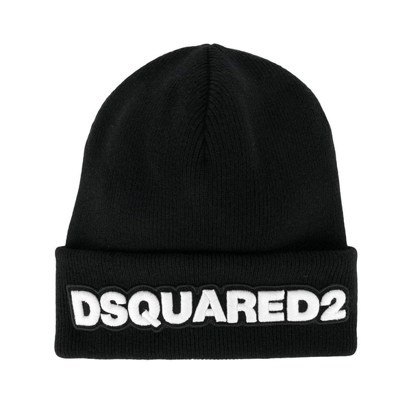 DSQUARED2 Logo Patch Beanie, Black-OZNICO