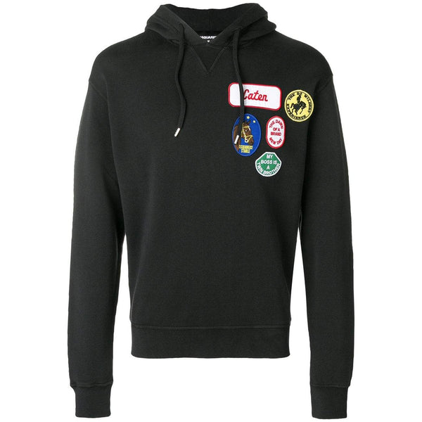 DSQUARED2 Logo Patch Hooded Sweatshirt, Black-OZNICO