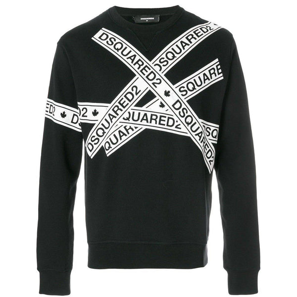 DSQUARED2 Logo Tape Print Sweatshirt, Black-OZNICO