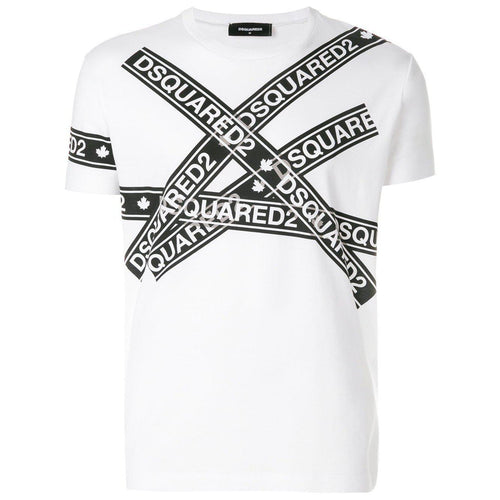 DSQUARED2 Logo Tape Print T-Shirt, White-OZNICO