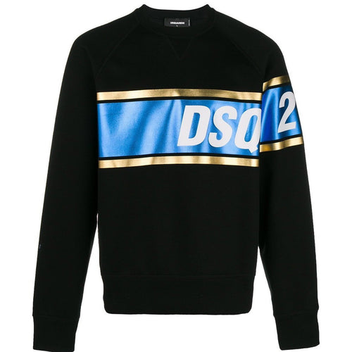 DSQUARED2 Metallic Print Logo Sweatshirt, Black-OZNICO