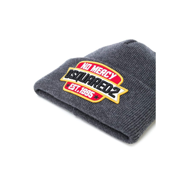 DSQUARED2 No Mercy Patch Beanie, Anthracite-OZNICO