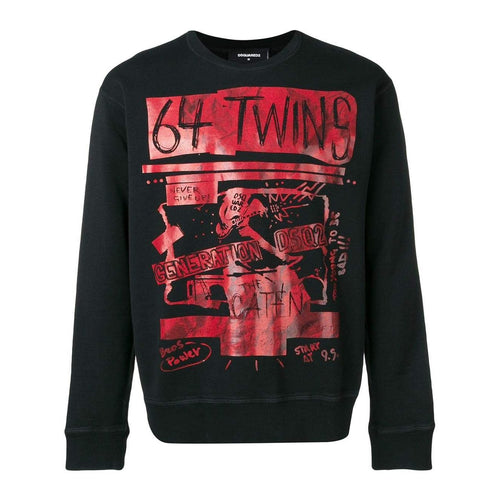 DSQUARED2 Printed '64 Twins' Sweatshirt, Black-OZNICO