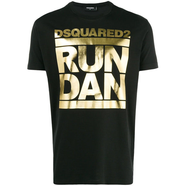 DSQUARED2 Run Dan T-Shirt, Black-OZNICO